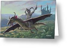 Knight Riding On Flying Dragon Greeting Card by Martin Davey
