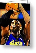 Kobe Bryant Drawing Greeting Card by Dan Troyer