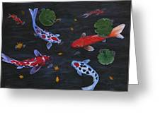 Koi Fishes Original Acrylic Painting Greeting Card by Georgeta  Blanaru