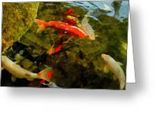 Koi Pond Greeting Card by Michelle Calkins