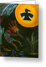 Kokopelli With Thunderbird In The Moon Greeting Card by Anne-Elizabeth Whiteway