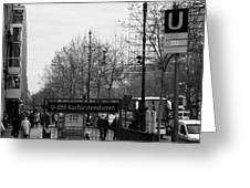Kufurstendamm u-bahn station entrance Berlin Germany Greeting Card by Joe Fox