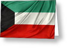 Kuwait Flag  Greeting Card by Les Cunliffe