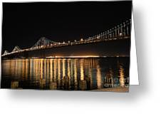 L E D Lights On The Bay Bridge Greeting Card by David Bearden