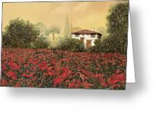La Casa E I Papaveri Greeting Card by Guido Borelli
