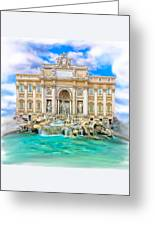 La Dolce Vita - The Trevi Fountain In Rome Greeting Card by Mark E Tisdale
