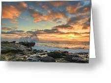 La Jolla Cove At Sunset Greeting Card by Eddie Yerkish