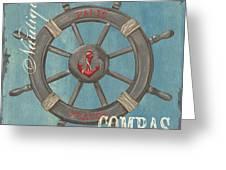 La Mer Compas Greeting Card by Debbie DeWitt