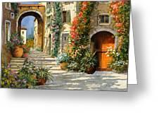 La Porta Rossa Sulla Salita Greeting Card by Guido Borelli