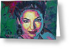 La Reina De Miami Greeting Card by Maria Arango