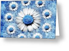 La Ronde Des Marguerites - Blue V05 Greeting Card by Variance Collections