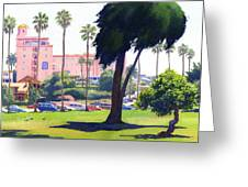 La Valencia Hotel And Cypress Greeting Card by Mary Helmreich