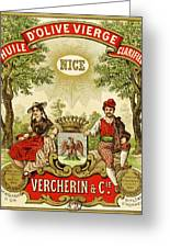 Label For Vercherin Extra Virgin Olive Oil Greeting Card by French School