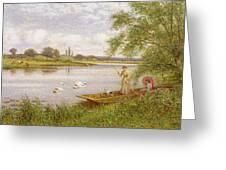Ladies In A Punt Greeting Card by Arthur Augustus II Glendening