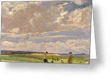 Lady Astor Playing Golf At North Berwick Greeting Card by Sir John Lavery