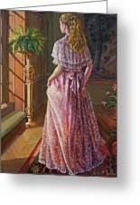 Lady Gazing Through The Window Greeting Card by Dominique Amendola
