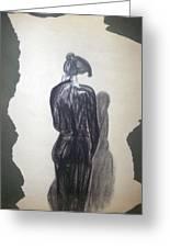 Lady In Black Greeting Card by Cynthia Hilliard