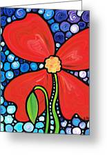Lady In Red 2 - Buy Poppy Prints Online Greeting Card by Sharon Cummings