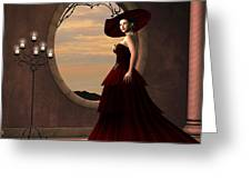 Lady In Red Dress Greeting Card by Corey Ford