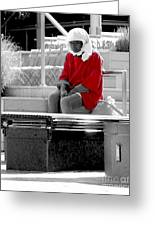 Lady In Red Greeting Card by Lilliana Mendez
