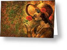 Lady In The Flower Garden Greeting Card by Angela A Stanton