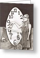 Lady Justice And The Handless Clock Greeting Card by Richie Montgomery