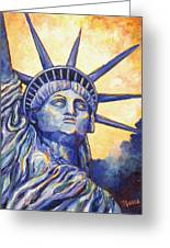 Lady Liberty Greeting Card by Linda Mears