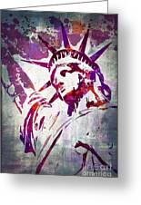 Lady Liberty Watercolor Greeting Card by Delphimages Photo Creations