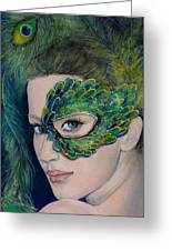 Lady Peacock Greeting Card by Dorina  Costras