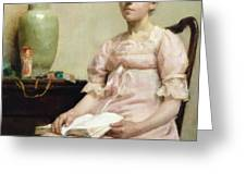 Lady Reading Greeting Card by Fanny Caille