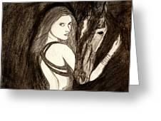Lady With Horse Greeting Card by Abhinav Krishna Dwivedi