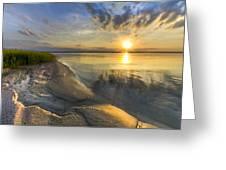 Lake Glow Greeting Card by Debra and Dave Vanderlaan