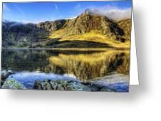 Lake Idwal Panorama Greeting Card by Ian Mitchell