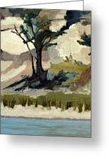 Lake Michigan Dunes With Trees Diptych 2 Greeting Card by Michelle Calkins