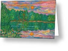Lake Sunset Greeting Card by Kendall Kessler