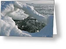 Lake Superior Ice Arch Greeting Card by Sandra Updyke