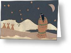 Lakota Woman with Winter Constellations Greeting Card by Dawn Senior-Trask