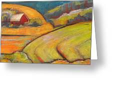 Landscape Art Orange Sky Farm Greeting Card by Blenda Studio