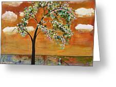 Landscape Art Scenic Tree Tangerine Sky Greeting Card by Blenda Studio