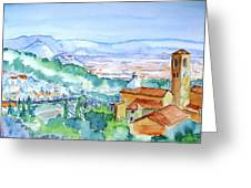 Landscape In Tuscany With Medieval Village  Greeting Card by Trudi Doyle