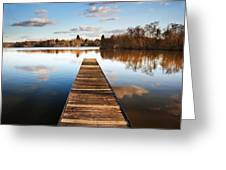 Landscape Of Fishing Jetty On Calm Lake At Sunset With Reflectio Greeting Card by Matthew Gibson
