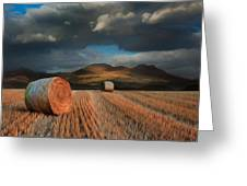Landscape of hay bales in front of mountains digital painting Greeting Card by Matthew Gibson