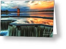 Landscape Strathclyde Park Weir Greeting Card by John Farnan
