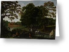 Landscape with a courtly procession before Abtspoel Castle Greeting Card by Esaias I van de Velde