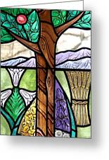 Landscape With Flora Greeting Card by Gilroy Stained Glass