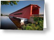 Langley Covered Bridge Michigan Greeting Card by Steve Gadomski