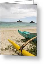Lanikai Beach Outrigger 2 - Oahu Hawaii Greeting Card by Brian Harig