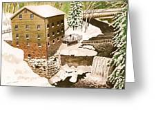 Lantermans Mill In Winter - Mill Creek Park Greeting Card by Laurie Anderson