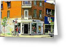 L'appartement Boutique Fashions Trendy Chic Clothing Store Ave Du Mont Royal City Scene Greeting Card by Carole Spandau