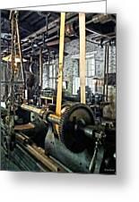 Large Lathe In Machine Shop Greeting Card by Susan Savad
